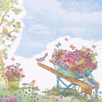 Χαρτοπετσέτες  με καρότσι και λουλούδια 33x33cm - (363413)