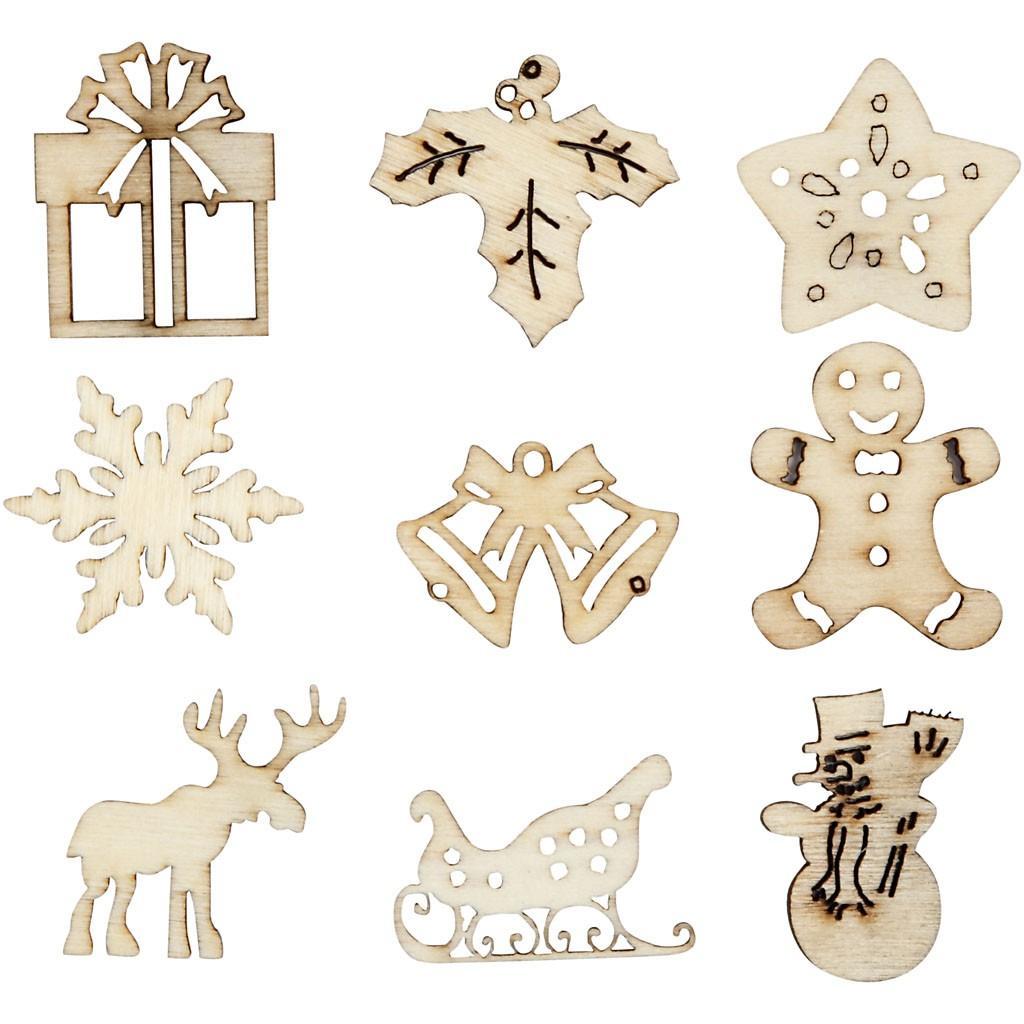 Ξύλινα Χριστουγεννιάτικα διακοσμητικά  45 τεμ. - 52378