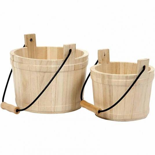 Ξύλινος κουβάς με χερούλι σετ 2 τεμ. 16χ17cm - 14x11cm