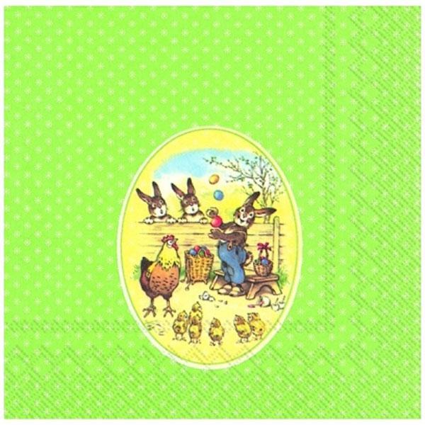 Χαρτοπετσέτες με κουνελάκια και κοτοπουλάκια σε πράσινο φόντο 33x33cm - L605100