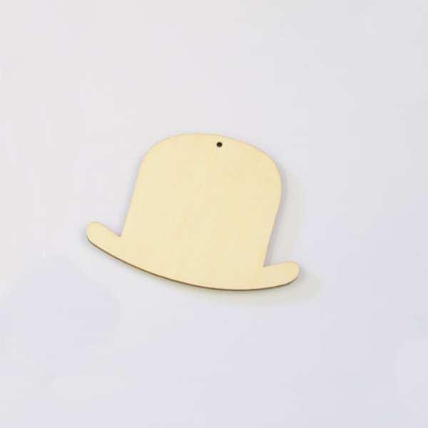 Ξύλινο Καπέλο Μεσαίο 8x5.5cm Φυσικό χρώμα