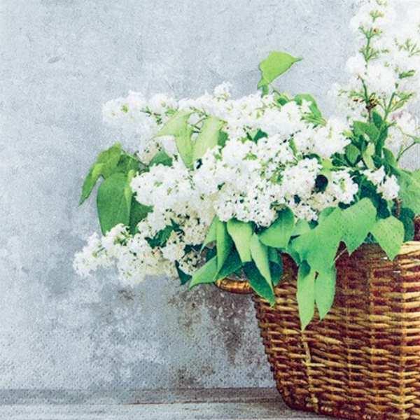 Χαρτοπετσέτα για Decoupage - 1 τεμ. 33x33 Καλάθι με Λευκά λουλούδια