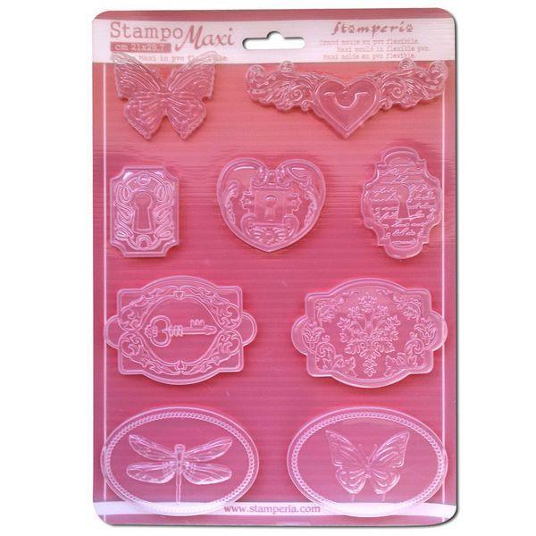 Καλούπι Σιλικόνης Κλειδαριές και Πεταλούδες 21x29.7cm - Stamperia