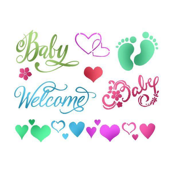 Stencil με μηνύματα για νεογέννητο 15x20cm Stamperia