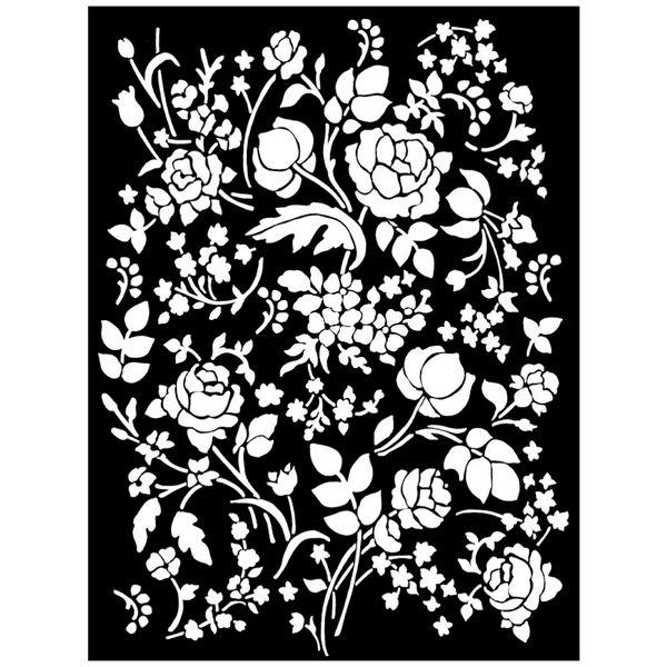 Mix Media Stencils Floral Fantasy Λουλούδια Φόντο 20x25cm (0.2mm Thickness)  Stamperia