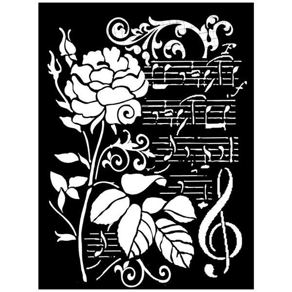 Mix Media Stencils Rose and Music Τριαντάφυλλο και Νότες 20x25cm (0.2mm Thickness)  Stamperia