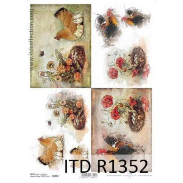 Ριζόχαρτο με Κοτούλες και Λουλούδια ITD 21x29.7cm
