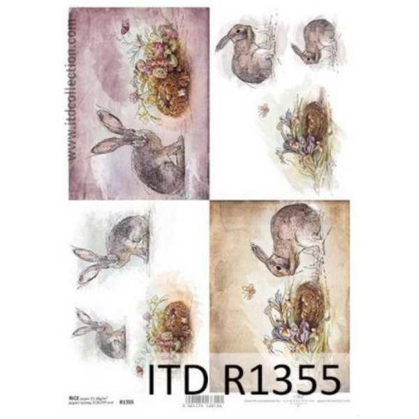 Ριζόχαρτο με Λαγούς και Λουλούδια ITD 21x29.7cm