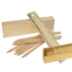 Ξύλινη κασετίνα 20.5x4x3cm χάρακας και σετ 8 ξυλομπογιές